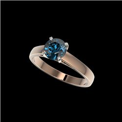 1.25 ctw Certified Intense Blue Diamond Engagement Ring 10K Rose Gold