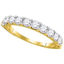 14kt Yellow Gold Round Pave-set Diamond Wedding Band Ring 1.00 Cttw