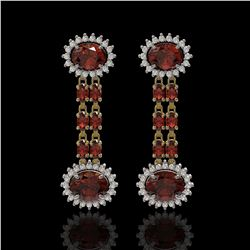 8.87 ctw Garnet & Diamond Earrings 14K Yellow Gold