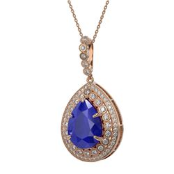 15.87 ctw Sapphire & Diamond Victorian Necklace 14K Rose Gold