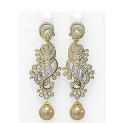 6.52 ctw Diamond and Pearl Earrings 18K Yellow Gold