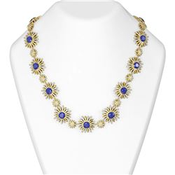 46.03 ctw Sapphire & Diamond Necklace 18K Yellow Gold