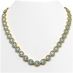 35.13 ctw Sky Topaz & Diamond Micro Pave Halo Necklace 10K Yellow Gold