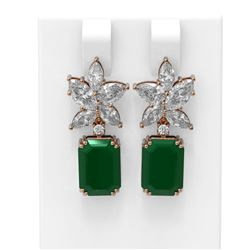 15.19 ctw Emerald & Diamond Earrings 18K Rose Gold