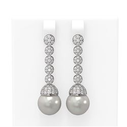 2.75 ctw Diamond and Pearl Earrings 18K White Gold