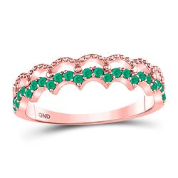 10kt Rose Gold Round Emerald Scalloped Stackable Band Ring 1/4 Cttw