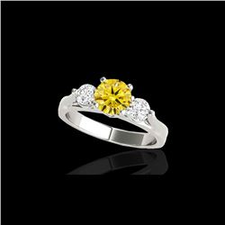 1.75 ctw SI/I Fancy Intense Yellow Diamond 3 Stone Ring 10K White Gold