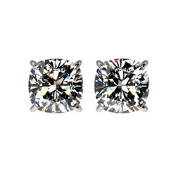 2 ctw Certified VS/SI Quality Cushion Diamond Stud Earrings 10K White Gold