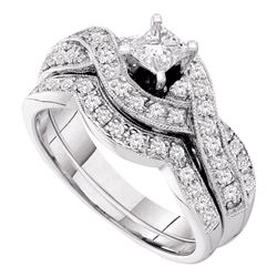 14kt White Gold Princess Diamond Twist Bridal Wedding Engagement Ring Band Set 3/4 Cttw