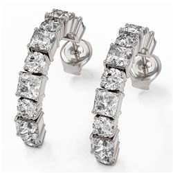 3.9 ctw Princess Cut Diamond Designer Earrings 18K White Gold