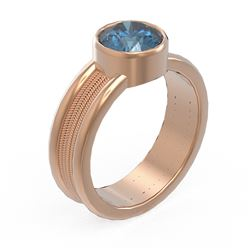 1.5 ctw Intense Blue Diamond Ring 18K Rose Gold