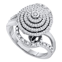 10kt White Gold Round Diamond Concentric Circle Layered Cluster Ring 1/2 Cttw