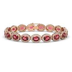 21.71 ctw Tourmaline & Diamond Micro Pave Halo Bracelet 10K Rose Gold