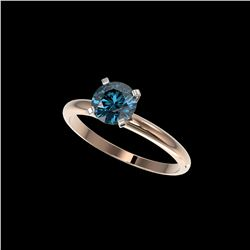 1.05 ctw Certified Intense Blue Diamond Engagement Ring 10K Rose Gold