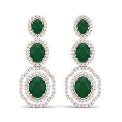 17.01 ctw Emerald & VS Diamond Earrings 18K Rose Gold