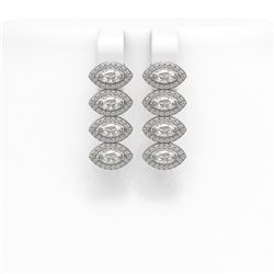 4.52 ctw Marquise Cut Diamond Micro Pave Earrings 18K White Gold