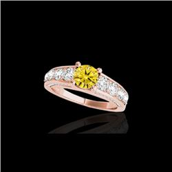 2.55 ctw Certified SI/I Fancy Intense Yellow Diamond Ring 10K Rose Gold