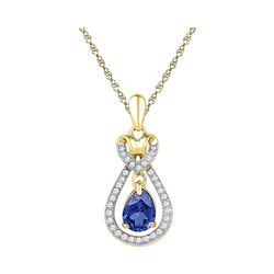 10kt Yellow Gold Oval Lab-Created Blue Sapphire Solitaire Pendant 1/6 Cttw