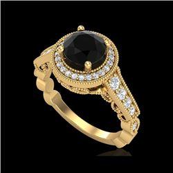 1.91 ctw Fancy Black Diamond Engagement Art Deco Ring 18K Yellow Gold