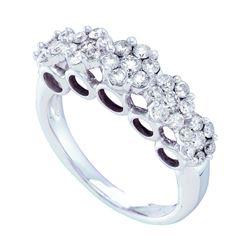 14kt White Gold Round Diamond Multi Flower Cluster Ring 1-1/2 Cttw