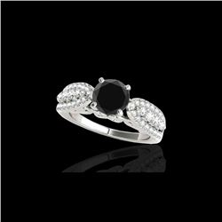 2 ctw Certified VS Black Diamond Solitaire Ring 10K White Gold