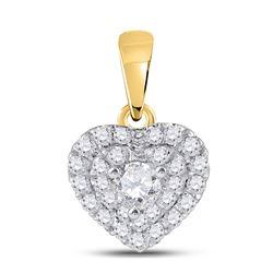 14kt Yellow Gold Round Diamond Fashion Heart Pendant 1/3 Cttw