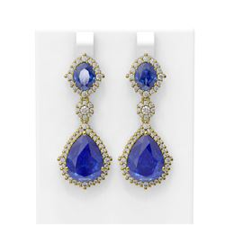 30.16 ctw Tanzanite & Diamond Earrings 18K Yellow Gold
