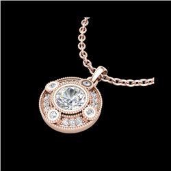 1.01 ctw VS/SI Diamond Solitaire Art Deco Stud Necklace 18K Rose Gold