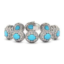 38.17 ctw Turquoise & Diamond Victorian Bracelet 14K White Gold