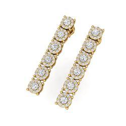 2 ctw Certified SI/I Diamond Halo Earrings 18K Yellow Gold