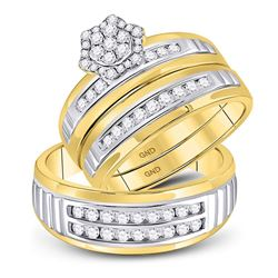 10kt Two-tone Gold His & Hers Round Diamond Cluster Matching Bridal Wedding Ring Band Set 3/4 Cttw