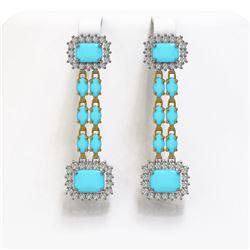 9.54 ctw Turquoise & Diamond Earrings 14K Yellow Gold