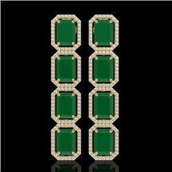 20.59 ctw Emerald & Diamond Micro Pave Halo Earrings 10K Yellow Gold