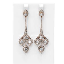 7.61 ctw Diamond Earrings 18K Rose Gold