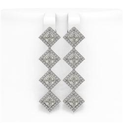 5.92 ctw Princess Cut Diamond Micro Pave Earrings 18K White Gold