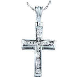 10kt White Gold Round Diamond Cross Religious Pendant 1/12 Cttw