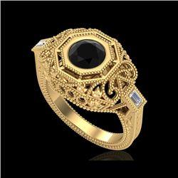 1.13 ctw Fancy Black Diamond Engagement Art Deco Ring 18K Yellow Gold