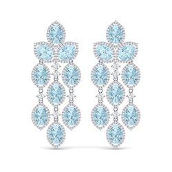 23.76 ctw Sky Topaz & VS Diamond Earrings 18K White Gold