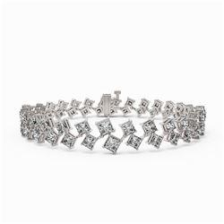 14.5 ctw Princess Diamond Designer Bracelet 18K White Gold