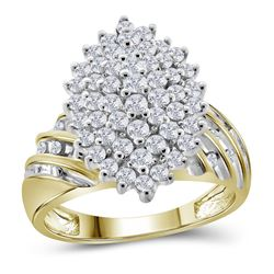 10kt Yellow Gold Round Diamond Oval Cluster Ring 1.00 Cttw
