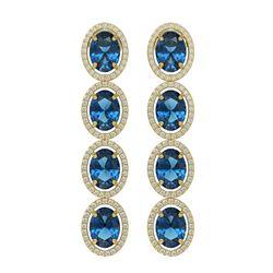 14.76 ctw London Topaz & Diamond Micro Pave Halo Earrings 10K Yellow Gold