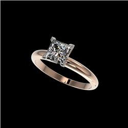 1.25 ctw Certified VS/SI Quality Princess Diamond Ring 10K Rose Gold