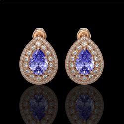 8.54 ctw Tanzanite & Diamond Victorian Earrings 14K Rose Gold