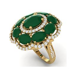 14.4 ctw Designer Emerald & VS Diamond Ring 18K Yellow Gold
