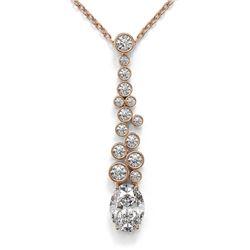 1.2 ctw Oval Cut Diamond Designer Necklace 18K Rose Gold