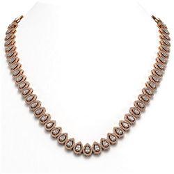 28.47 ctw Pear Cut Diamond Micro Pave Necklace 18K Rose Gold