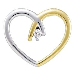 10kt Two-tone Yellow Gold Round Diamond Solitaire Heart Pendant .03 Cttw