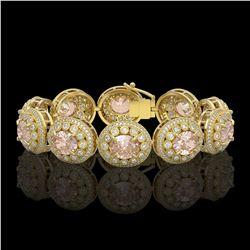 40.92 ctw Morganite & Diamond Victorian Bracelet 14K Yellow Gold