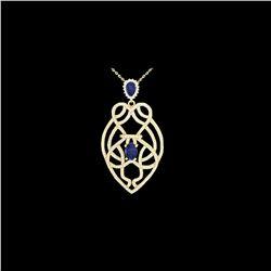 3.50 ctw Tanzanite & Micro VS/SI Diamond Heart Necklace 14K Yellow Gold