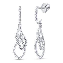10kt White Gold Round Diamond Dangle Earrings 1/4 Cttw